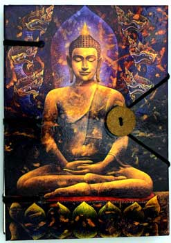 "Buddha journal 4 1/2"" x 6 1/2"" handmade parchment"