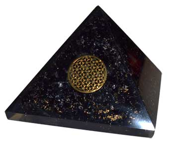 70mm Orgone Tourmaline and Flower pyramid