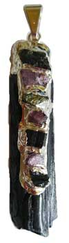 Black Tourmaline 7 Chakra rough pendant