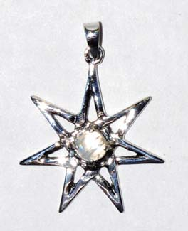 "1 1/4"" 7 Pointed Star Moonstone sterling"