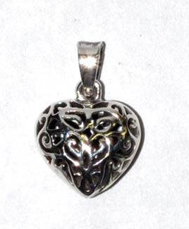 "1/2"" Heart, filgree sterling"