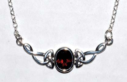 Celtic Oval Garnet necklace sterling