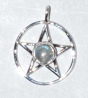 "11/16"" Pentagram Moonstone sterling"