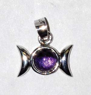 "9/16"" Triple Goddess Amethyst sterling"