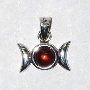 "9/16"" Triple Goddess Garnet sterling"