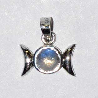 "9/16"" Triple Goddess Moonstone sterling"