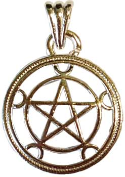 "1"" Pentagram w/crescent Moons"