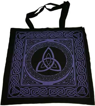 "18"" x 18"" Triquetra purple/black tote bag"