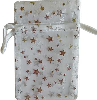 "2 3/4"" x 3"" White organza pouch with Silver Stars"