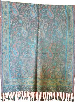 "27""x68"" Peacock Paisley scarf"